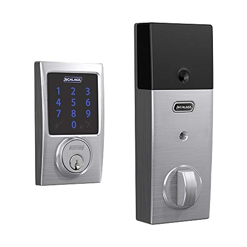 (Schlage BE469ZP CEN 626 Connect Smart Deadbolt with Alarm with Century Trim in Satin Chrome, Z-Wave Plus Enabled,)