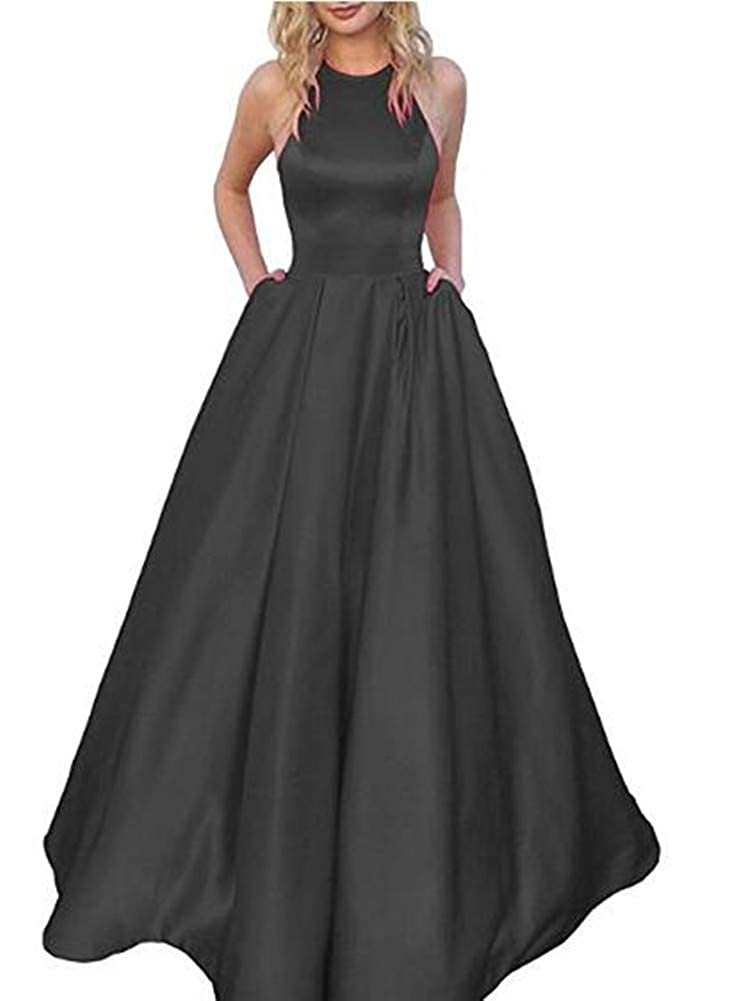 Black Without Belts Yuki Isabelle Women's Halter Beaded Backless Long Formal Evening Wedding Dresses with Pockets