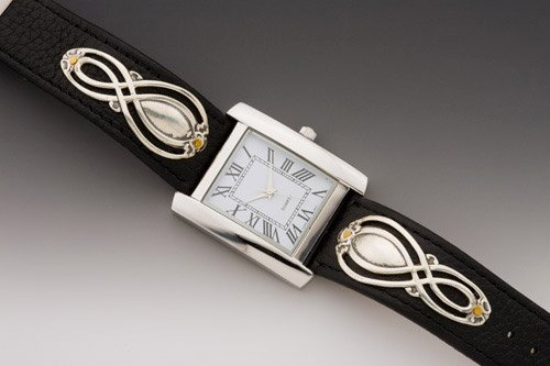 Silver Spoon Hellensburgh Black/Silver/White Leather Watch (Silver Spoon Watch compare prices)