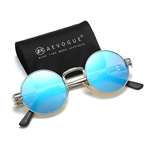 AEVOGUE Sunglasses Steampunk Style Round Metal Frame Unisex Glasses AE0539 (Silver&Blue, - Glasses Blue Round