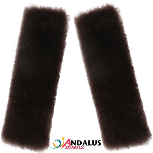 Andalus Authentic Sheepskin Car Seat Belt Cover (2 Pack), Brown, Soft Shoulder Pad, Comfortable Driving, Genuine Natural Merino - Clips Round Free Brown And