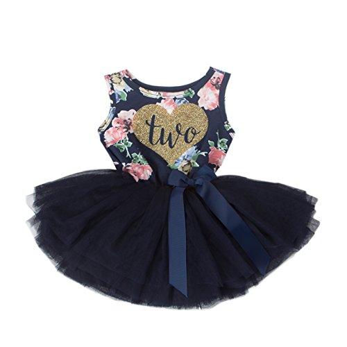 Grace & Lucille Navy Floral Sleeveless Toddler Birthday Dress (Flat Heart Gold, 2T) ()