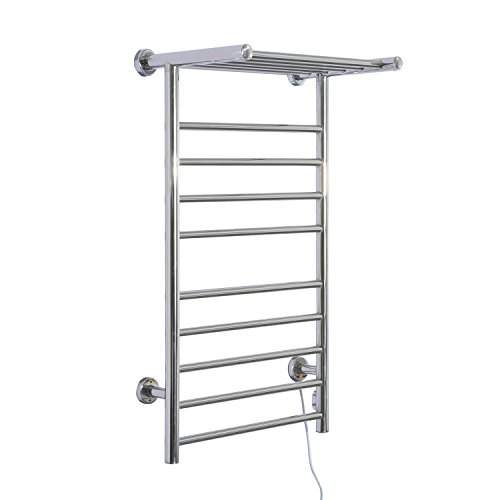 New 9-Bar Wall Mounted Electric Heated Towel Warmer Rack Stainless Steel by totoshop