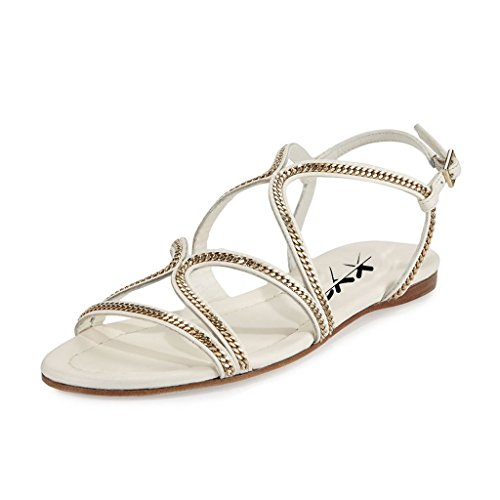 XYD Vintage Retro Sandals Open Toe Slingback Strappy Chain Shoes Gladiator Flats for Women Size 4 White