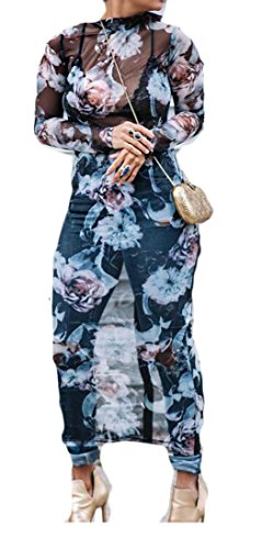 Womens Sleeve Maxi Domple Mesh Dress Through Sexy 1 Long Clubwear Floral See dpwBTfq