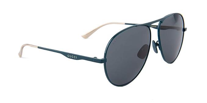 878871b021 Amazon.com  Gucci GG0334S Sunglasses 003 Green   Grey Lens 60 mm ...