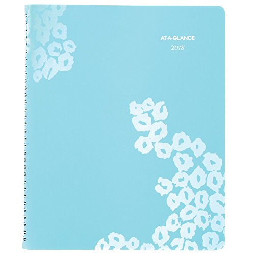"AT-A-GLANCE Weekly / Monthly Appointment Book / Planner, January 2018 - January 2019, 8-1/2"" x 11"", Wild Washes, Light Blue (523-905)"