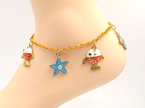 [Nautical Anklet -Enamel Fish/Starfish Gold-plated Ankle Bracelet- Sizes 8-11 - Ocean Lovers] (Easy Starfish Costume)