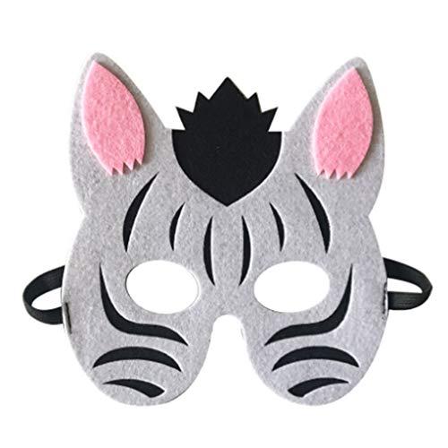 Zerama Cartoon Animals Half Face Kids Mask Children's Day Birthday Dress Up Costume Mask Zoo Jungle Party Supplies