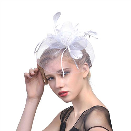 Mwfus Women Feather Fascinator Top Hat Wedding Cocktail Church Veil Headpiece (Cocktail White Top Hat Headband)