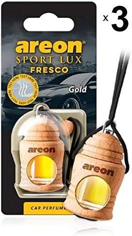 Areon Fresco Auto Parfüm Sport Lux Gold Autoduft Hängend Flasche Glas Duftflakon Parfüm Flakon Holz Lufterfrischer Set Aufhängen Anhänger Spiegel Schwarz 4ml 3d Pack X 3 Auto