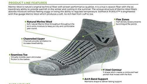 Swiftwick – Dress Socks, PURSUIT BUSINESS EIGHT | Soft Merino Wool, Breathable Compression Socks