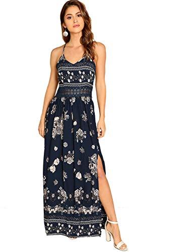 Floerns Women's Sleeveless Sundress Beach Maxi Long Dress Navy M