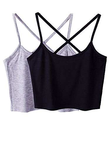 Micmall Cami Camisole Short Cross Spaghetti Strap Women's Tank Top Black/Grey Cotton Crop Top