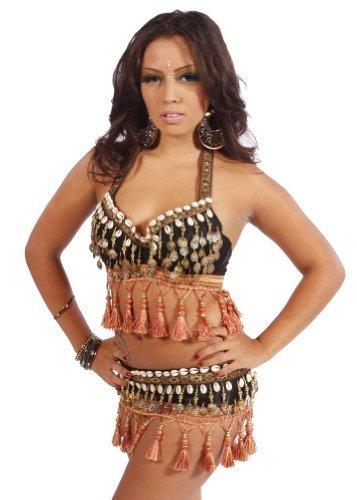 Miss Belly Dance Conjunto Tribal de Traje de Sujetador y cinturón de Danza del Vientre para