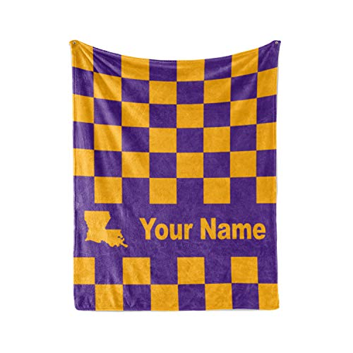 (LSU Tigers Themed Custom Fleece Blanket - Personalized Tiger Merchandise for Men Women Kids - Great Gift Idea (Baby/Pet 30