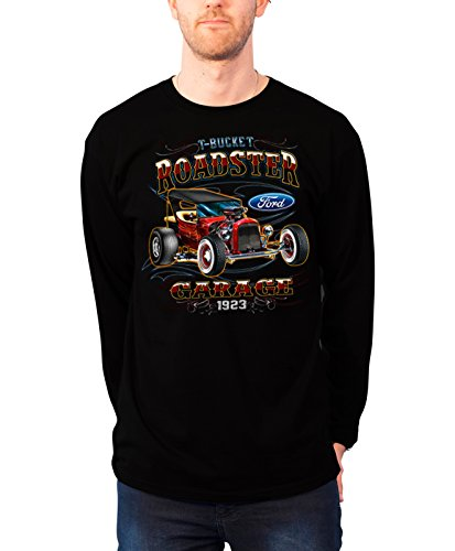 Ford Long Sleeve T Shirt T-Bucket Roadster new Official Mens Black (Roadster Sleeve Long)