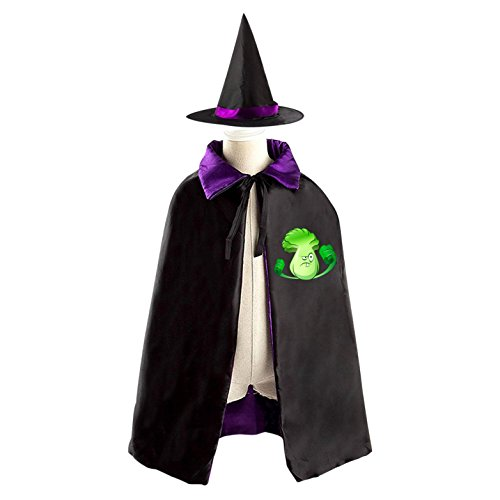 Plants Vs Zombies Cattail Costume (Plants vs. Zombies Halloween Wizard Witch Kids Cape With Hat Party Cloak)