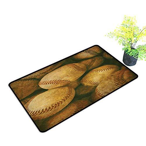 - Diycon Thin Door mat Vintage Vintage Baseball Backgorund American Sports Theme Nostalgic Leather Retro Balls Artwork W35 xL47 All Season General Brown