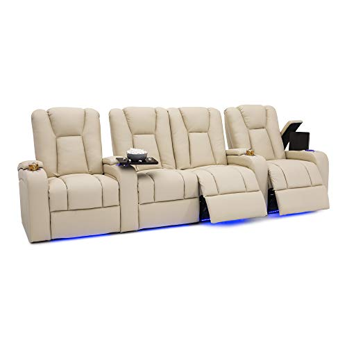 Seatcraft Serenity Leather Home Theater Seating Power Recline with in-Arm Storage, Lighted Cup Holders, and Ambient Base (Row of 4 with Middle Loveseat, Cream)