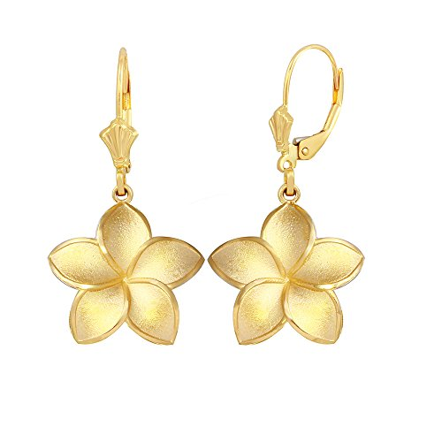 Matte Finish 14k Yellow Gold Hawaiian Flower Plumeria Dangle Earrings (Medium)