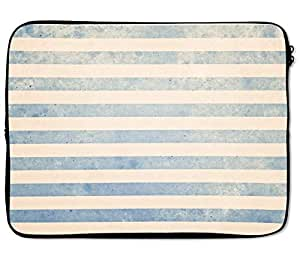 Loud Universe Beige Grey Stripe Pattern Vintage Effect Laptop Sleeve - 12 inch