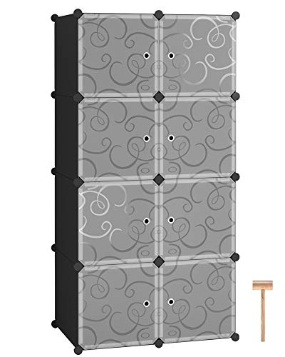 C&AHOME Cube Storage Organizer, 8- Cube DIY Plastic Closet Cabinet, Modular Book Shelf Organizer Units, Storage Shelving Ideal for Bedroom Living Room Office with Doors, Black