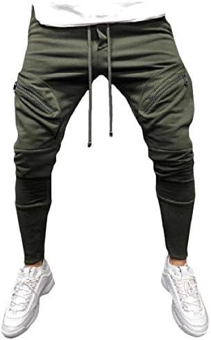 Romancly メンズジップフロントプラスサイズポケット固体スリム中期ウエストスポーツパンツ
