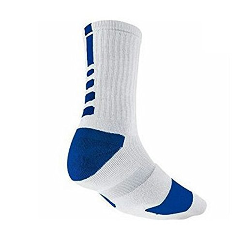 NIKE Dri-FIT Elite Crew Basketball Socks, White/Blue, L