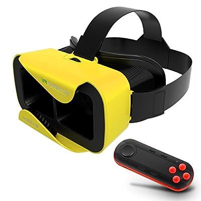 Yellow VR SHINECON XiaoCang Virtual Reality 3D Glasses + Black Bluetooth Remote Controller