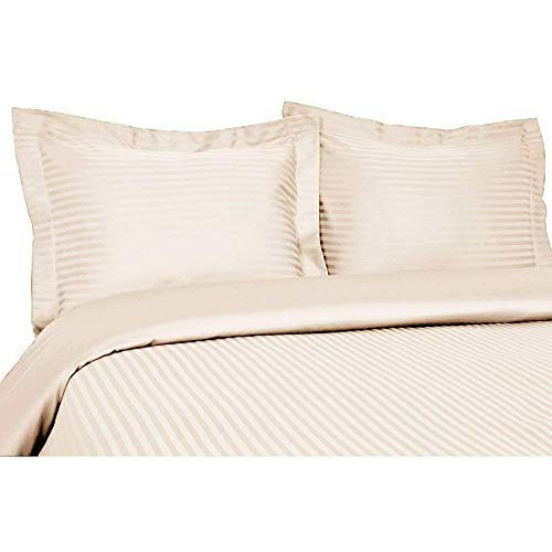 - 1000 Thread Count Three (3) Piece Queen Size Ivory Stripe Duvet Cover Set, 100% Egyptian Cotton, Premium Hotel Quality