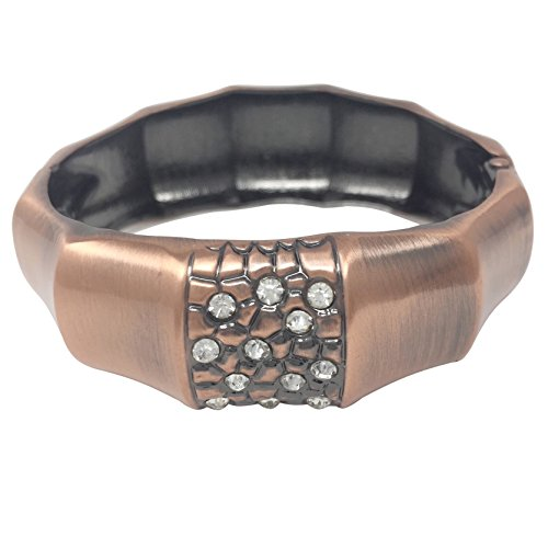 Gypsy Jewels Brushed Metal Bamboo Look with Rhinestones Hinged Bangle Bracelet (Copper Tone)