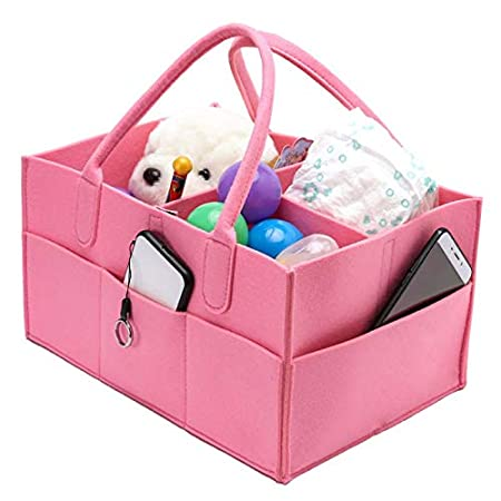 Baby Diaper Caddy,Felt Cloth Nursery Storage Bin and Car Organizer Portable Diaper Caddy Organizer Basket for Diapers and Baby Wipes Nappy Bags for Mom Toys for Child
