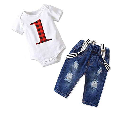 Toddler Baby Boy Clothes Set Bowtie Romper Suspenders Ripped Denim Pants Outfits (1 Birthday, 80/Fit 6-12 Months) ()