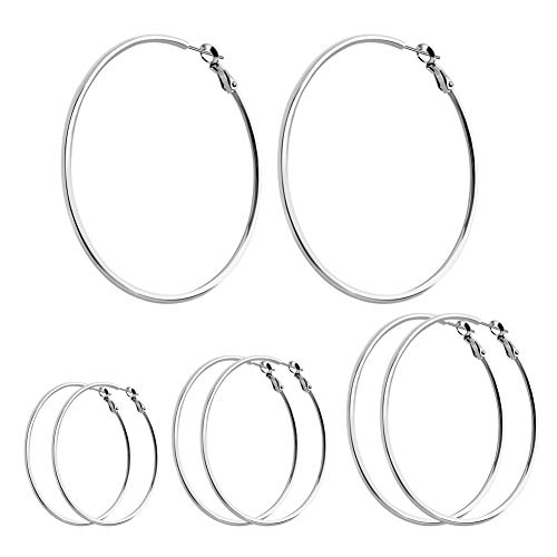 ❤4 Pairs Dainty Hoop Earrings Set❤ SOITIS Lightweight Earrings Hypoallergenic Surgical Stainless Steel Nickel Free Circle Fashion Gifts for Women Mom & Girls Men 40-70mm