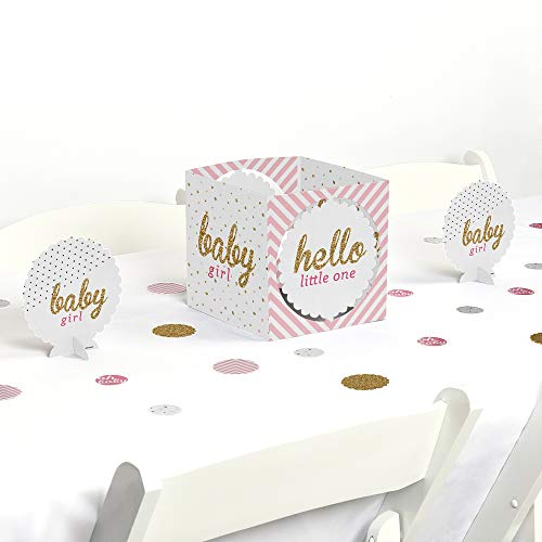 Big Dot of Happiness Hello Little One - Pink and Gold - Girl Baby Shower Centerpiece & Table Decoration Kit ()