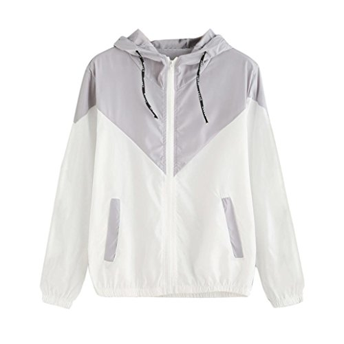 Women Hoodie Jacket,Lelili Warm Three-Color Patchwork Long Sleeve Zip Button Up Pockets Jacket Outwear Coat with Hood (M, Gray) ()