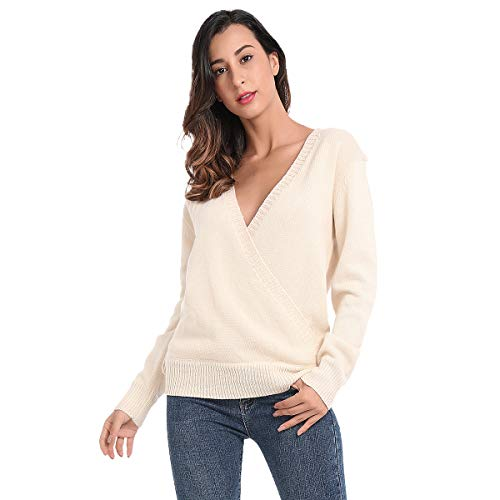 Wrap Front Sweater - JTANIB Women's Deep V-Neck Sexy Knitted Sweater Long Sleeve Wrap Front Loose Pullover Jumper Tops, Beige S