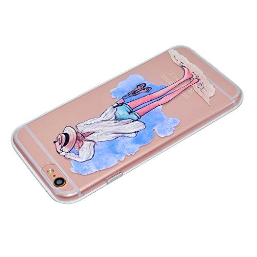 iPhone 6 / 6S Coque,Plage fille Premium Gel TPU Souple Silicone Transparent Clair Bumper Protection Housse Arrière Étui Pour Apple iPhone 6 / 6S + Deux cadeau