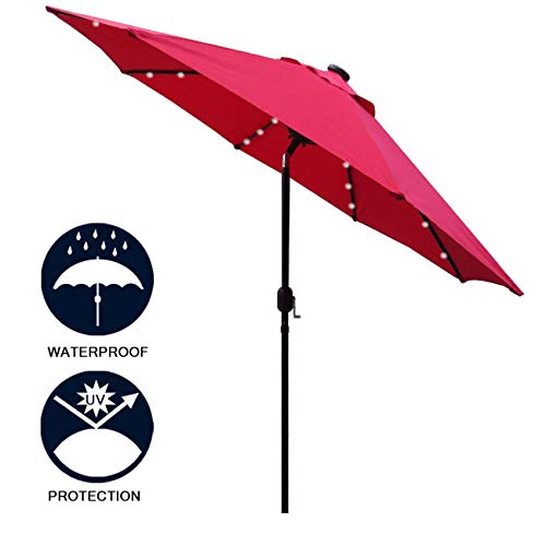 - Sunnyglade 9' Solar 24 LED Lighted Patio Umbrella with 8 Ribs/ Tilt Adjustment and Crank Lift System (Red)