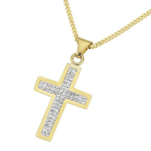 Crystelle - 500341012 - Collier Femme - Or Jaune / Blanc 375/1000 - Croix - Cristaux Swarovski Blanc - Chaine - 42 cm / 45 cm