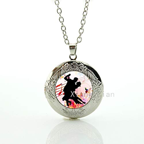 Pendant Necklaces - Vintage Couple Lovers Dancing Silhouette Plated Silver Pendant Locket Necklace Ballroom Dancing Dance Sports ift Ideas 083 - by TAFAE - 1 PCs