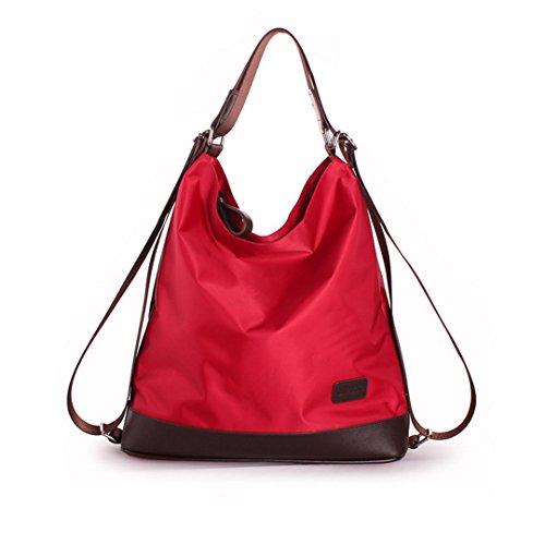 Goodbag Boutique Women Waterproof Nylon Tote Handbag Girl Versatile Satchel Purse Messenger Shoulder Bag Red