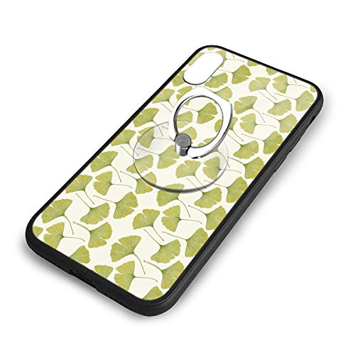 Green Ginko Leaves Ring Case for iPhone X Xs Case with Stand Ring Holder Kickstand