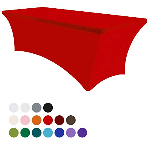 Eurmax 6Ft Rectangular Fitted Spandex Tablecloths Wedding Party Table Covers Event Stretchable Tablecloth (Red)