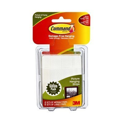 Command Large Picture-Hanging Strips, White, 7 Large, 4 Medium Strips by Command