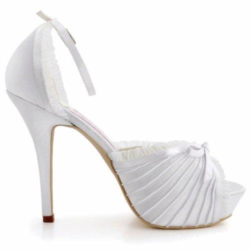 Morsiamen Ep11056 Satiini Korkokengät Naisten Kävelyttää Alustoilla Ilta Tikari Toe Peep Häät Valkoinen Kengät Elegantpark vTdzqv