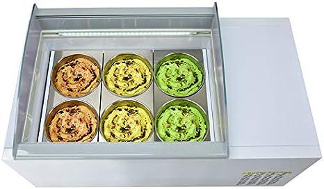 Diseño de sobremesa de Kolice 6 tambores Helado Vitrina Exhibidor ...