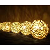 Christmas or Patio Party String Lights Thai Vintage Handmade Asian Oriental Handcraft Art White Rattan wood Ball Lamp (20/set) / Decor Accessory / Garden Decorative / Decor Modern Design from Thailand