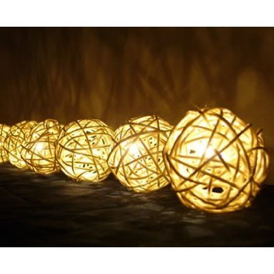 Christmas or Patio Party String Lights Thai Vintage Handmade Asian Oriental Handcraft Art White Rattan wood Ball Lamp (20/set) / Decor Accessory / Garden Decorative / Decor Modern Design from Thailand by Indy Thai Shop